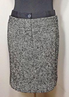 Ann Taylor LOFT Womens Size 2P Skirt Wool Pencil Black White Tweed Career #AnnTaylorLOFT #StraightPencil #Career