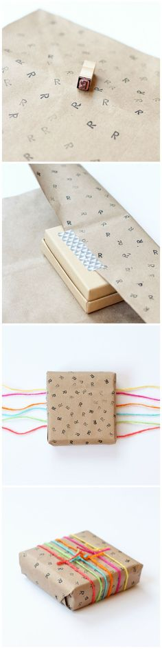 DIY Gift Wrap from a paper bag - love the contrast of the colorful yarn and brown paper!
