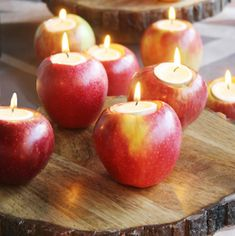 Decorate for fall on a budget with these creative dollar store fall DIY ideas. You can get a majority of the supplies from the Dollar Tree, but you will probably need some basic crafting materi Diy Thanksgiving Centerpieces, Fall Candle Centerpieces, Thanksgiving Crafts, Diy Candles, Fall Crafts, Diy Crafts, Fall Leaf Garland, Diy Fall Wreath, Fall Diy
