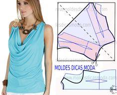 Blusa azul claro com gola drapeada molde passo a passo