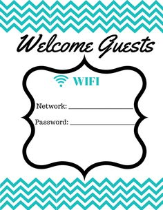 Free WIFI Password Printable   Lifestylequeenbee.com Free Wifi Password, Wifi Password Printable, Guest Room Sign, Lake Decor, Bistro, Ecommerce Hosting, Happy Planner, Dollar Stores, Free Printables