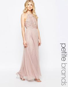 Image 1 of Maya Petite High Neck Maxi Tulle Dress With Tonal Delicate Sequins