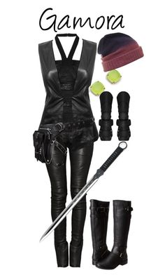 """""""Gamora"""" by pieisyummy ❤ liked on Polyvore featuring Balmain, Hervé Léger, Danier, Kate Spade, Holster, G by Guess, marvel, Gamora and GotG"""