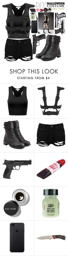 """DIY Lara Croft HALLOWEEN COSTUME"" by opheline1610 ❤ liked on Polyvore featuring Fleet Ilya, Philosophy di Lorenzo Serafini, Boohoo, Smith & Wesson, Bobbi Brown Cosmetics, Mehron, Home Decorators Collection, halloweencostume and DIYHalloween"