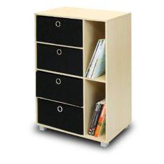 Multipurpose Storage Shelves Cabinet Bookcase Bookshelf Dresser with 4 Bin-Type Drawers