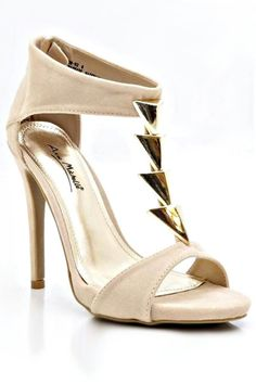 a86729952abf Anne Michelle Open Toe Gold Triangle Accent T-Strap Suede Platform Pump