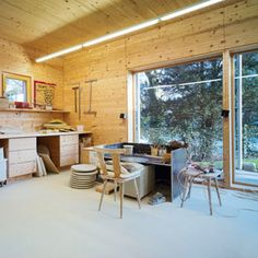 Pottery studio -- nice, clean pottery studio! Like the buid-around surrounding the wheel! COOL!