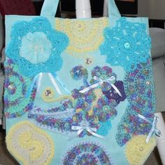 Light teal tote bag with lining embellished by CrochetByTeresa, $45.00