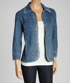 Blue Antique Wash Rhinestone Denim Jacket - Women by Lady Noiz #zulily #zulilyfinds