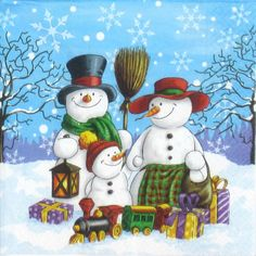 4 Single Paper Napkins Lunch Party For Decoupage Decopatch Craft Snowman Family