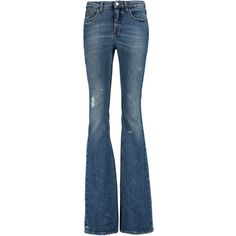 Victoria Beckham Denim - Mid-rise Flared Jeans ($265) ❤ liked on Polyvore featuring jeans, mid denim, destruction jeans, blue ripped jeans, distressing jeans, flare jeans and distressed jeans