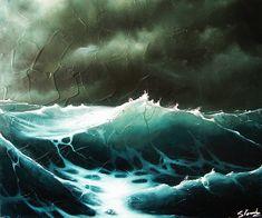 Lumière en pleine mer, tempête, vagues, marine