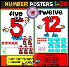 NUMBER POSTERS 1-20 from LidonBeltran from LidonBeltran on TeachersNotebook.com (22 pages)  - This is a set of number posters from 1-20. Each poster displays the number, the number word, the tally marks, the ten frames and a set of objects that represent the number.