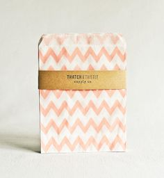 Paper Bags in Baby Pink Chevron Stripes - Set of 20 - 5x7 Party Favor Kraft Gift Wrapping Packaging Embellishment Sacks Merchandise on Etsy, $4.50