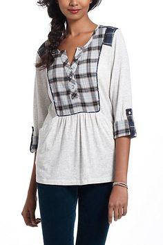 Plaid Placket Henley  #anthropologie