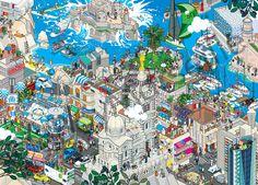 Eboy ville pixel art Marseille Les villes pixelisés deBoy