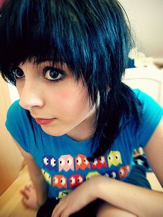 Blue Black Hair choppy short with a side ponytail