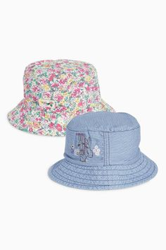 Next Stripe And Floral Embellished Bunny Fisherman Hats Two Pack (Younger Girls)