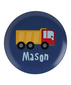 Take a look at this Dump Truck Personalized Plate by Lima Bean Kids on #zulily today!