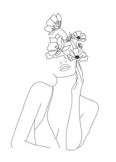 Minimal Line Art Woman with Flowers Mini Art Print door Nadja - Without Stand - 3 -- Pencil Art Drawings, Art Drawings Sketches, Sketch Art, Minimal Drawings, Tattoo Drawings, Line Drawing Art, Line Drawings, Drawing Women, Single Line Drawing