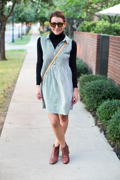 Add a long sleeve under a summer dress. Insta summer to fall.