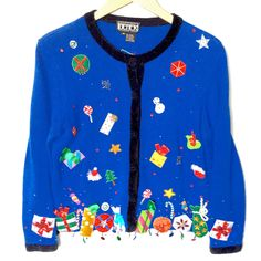It's Raining Christmas Tacky Ugly Cardigan Sweater