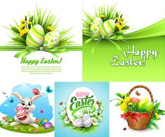 Easter cards with eggs on green backgrounds. Bunny with egg, wicker basket with eggs, Happy Easter inscription and decoration of the blades of grass, ribbons and flowers.