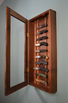 You put a lot of time and thought into your hobbies and collections, now pick out a display case that will show off and honor those investments, or show a collector in your life that you really care. The case is crafted in your hardwood of choice: no stains, no substitutes. 14 x 30 hardwood case displays up to 10 knives with a display range of 4.5 to 11 behind acrylic glass - regular glass can be substituted, just send a note with the request. Each knife is cradled on wooden pegs set at 5°…