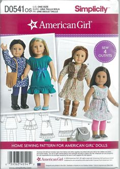 """Simplicity D0541 / 8282 American Girl Spring Dress and Tunic Doll Clothes Pattern for 18"""" Home Sewing Pattern for American Girl Dolls by SodaCityFinds on Etsy"""