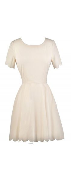 This otherwise simple and sweet dress is taken up a notch with the rounded scallop trim edges at the sleeves and hemline. The Round The Edges Scallop Hemline Dress is an Ivory Scallop A-Line Dress, Cute Rehearsal Dinner Dress, Cute Bridal Shower Dress. Dresses For Teens, Casual Dresses, Casual Outfits, Rehearsal Dinner Dresses, Rehearsal Dinners, Dresser, Short Sleeve Dresses, Dresses With Sleeves, Short Sleeves