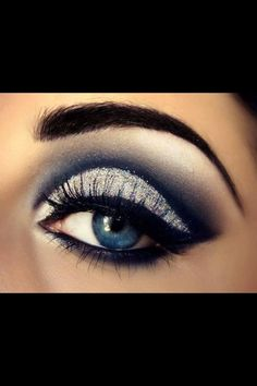 how to make up eyeshadow, Holiday eye makeup tricks , holiday eye makeup tipS, holiday makeup look ,make up for holiday by rosethomasuk Blue Eye Makeup, Eye Makeup Tips, Skin Makeup, Makeup Ideas, Black Makeup, Makeup Tricks, Navy Makeup, Makeup Pouch, Prom Makeup Blue Dress