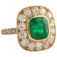 1stdibs | Classic Antique Emerald Diamond Cluster Ring