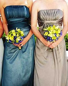 WeddingChannel Galleries: Blue and Neutral Bridesmaid Dresses
