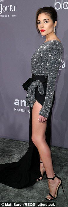 Leggy: They say that if you've got it, you should flaunt it and that's exactly what models... #oliviaculpo #celebrities #amfar