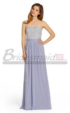 Lilac Strapless Long A Line Chiffon and Lace Bridesmaid Dress BD-IE-755