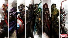 """Ilustrações de """"Os Vigadores"""" como guerreiros da fantasia Medieval"""