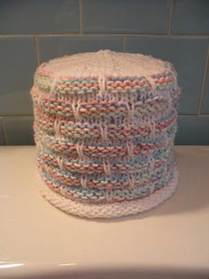 Ravelry: Ball Band (ballband) Toilet Paper Cover pattern by hakucho Christmas Knitting Patterns, Knitting Patterns Free, Knit Patterns, Free Pattern, New Toilet, Yarn Inspiration, Toilet Paper Roll, Paper Cover, Knitted Blankets