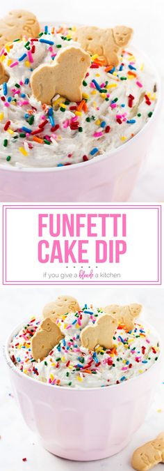 Funfetti Cake Dip Funfetti cake dip is the perfect no bake birthday dessert This three ingredient recipe is so easy www ifyougiveablo Dessert Dips, Oreo Dessert, Brownie Desserts, Mini Desserts, Keto Desserts, Coconut Dessert, Low Carb Dessert, Easy Desserts, Easy Birthday Desserts