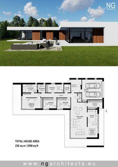 modern villa Laguna designed by NG architects www. Dream House Plans, Modern House Plans, Modern House Design, House Floor Plans, Bedroom Floor Plans, Staircase Contemporary, Contemporary Landscape, Contemporary Bedroom, Contemporary Cottage