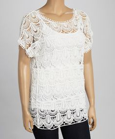 Look what I found on #zulily! White Paisley Lace Short-Sleeve Top - Plus by IRE #zulilyfinds