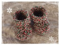 Made to Order Christmas Booties Handmade Crochet Newborn to 3 months, 3 to 6 months by HaldaneCreations on Etsy