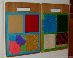 diy sensory boards. Love this idea for keeping the little ones occupied