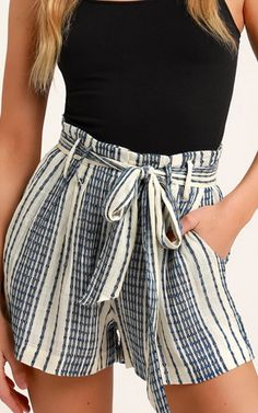 Slip into vacay mode with the Lulus Laguna Blue Striped High Waist Shorts! Striped woven rayon falls from a trendy, high waist, with tying sash, into shorts. Cute Summer Outfits, Short Outfits, Cool Outfits, Fashion Outfits, Beautiful Outfits, Girly Outfits, Preppy Outfits, Unique Outfits, Summer Fun