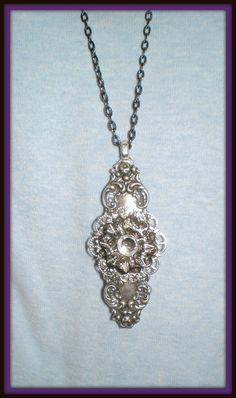 Antiqued Silver Floral Rhinestone Victorian Style Pendant Necklace handmade by NatureAngels, $24.00