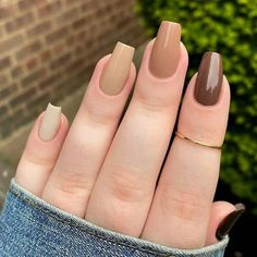 Acrylic Nails Coffin Short, Simple Acrylic Nails, Fall Acrylic Nails, Simple Nails, Fall Gel Nails, Wedding Acrylic Nails, Colorful Nails, Autumn Nails, Winter Nails