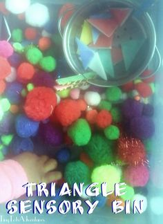 An easy sensory bin recipe by theme the focuses is on the shape trianlge. Sensory Table, Sensory Bins, Sensory Activities, Sensory Play, Toddler School, Sensory Processing Disorder, Play Ideas, Fine Motor Skills, Triangle