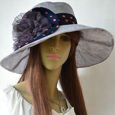 Kentucky Derby Hats for Women   Women-Kentucky-Derby-Hat-Chiffon-Ribbon-Church-Hat-Wide-Brim-Dress-Hat ...