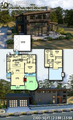 Plan Splendid Contemporary House Plan with Detached Garage Plan Splendid Contemporary House Plan with Detached Garage Chardaine LeBlanc chardaine Home Architectural Designs Home Plan gives you nbsp hellip New House Plans, Dream House Plans, Modern House Plans, House Floor Plans, Modern Lake House, Modern House Design, Casas Country, Bungalow, Glasgow