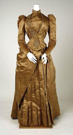Dress Date: 1885–89 Culture: American Medium: (a) silk, cotton, glass; (b) silk, cotton, linen, wool, glass; (c, d) silk, cotton; (e) silk