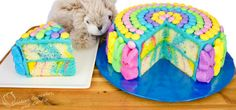A Marbled Cake Perfectly Decorated For Easter - http://www.homedecoratingdiy.net/a-marbled-cake-perfectly-decorated-for-easter
